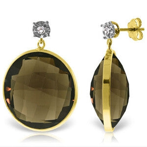 14K Solid Gold Diamonds Stud Earrings w/ Dangling Checkerboard Cut Smoky Quartz