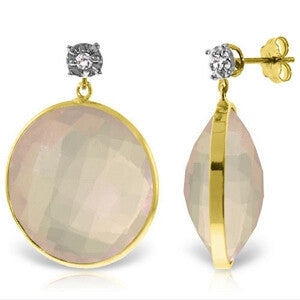 14K Solid Gold Diamonds Stud Earrings w/ Dangling Checkerboard Cut Rose Quartz