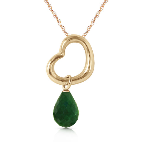 14K Solid Gold Heart Necklace w/ Dangling Natural Emerald