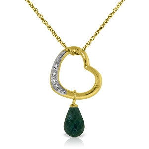 14K Solid Gold Heart Necklace w/ Natural Diamond & Emerald