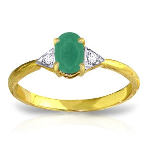 14K Solid Gold Ring w/ Natural Diamonds & Emerald