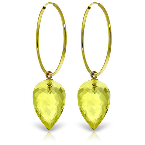 14K Solid Gold Hoop Earrings w/ Pointy Briolette Drop Lemon Quartz