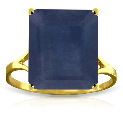 14K Solid Gold Ring w/ Natural Octagon Sapphire