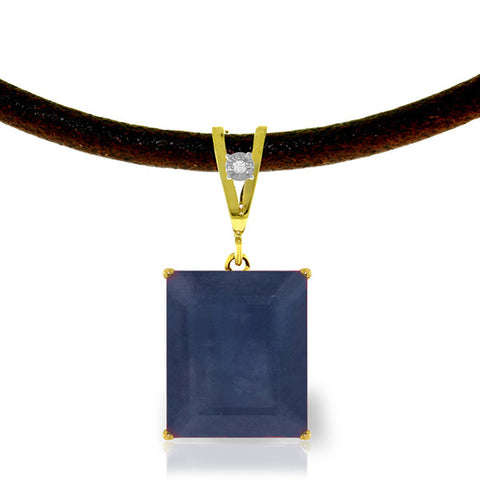 14K Solid Gold & Leather Necklace w/ Diamond & Sapphire