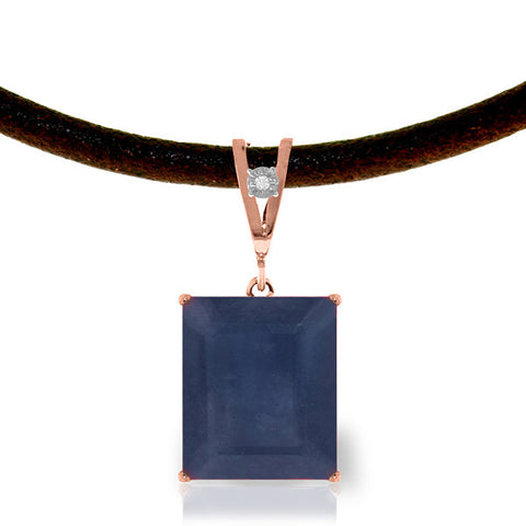 14K Solid Rose Gold & Leather Necklace w/ Diamond & Sapphire