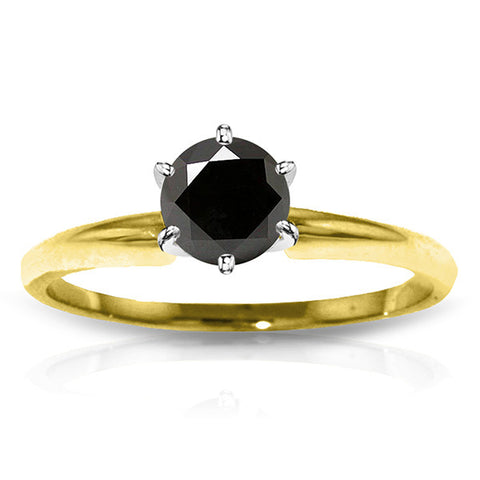 14K Solid Gold Solitaire Ring w/ 1.0 Carat Black Diamond