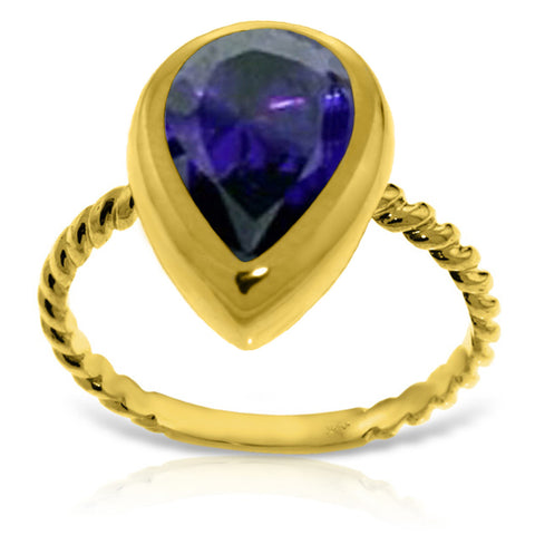 14K Solid Gold Rings w/ Natural Pear Shape Sapphire