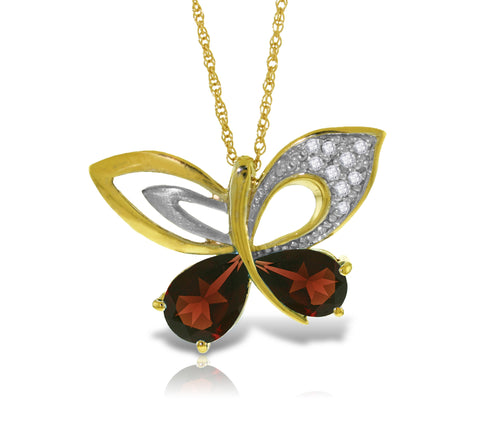 14K Solid Gold Batterfly Necklace w/ Natural Diamonds & Garnets