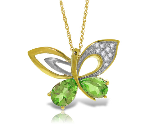 14K Solid Gold Batterfly Necklace w/ Natural Diamonds & Peridots