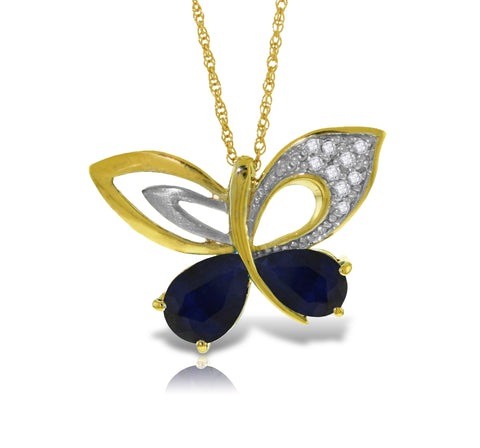 14K Solid Gold Batterfly Necklace w/ Natural Diamonds & Sapphires