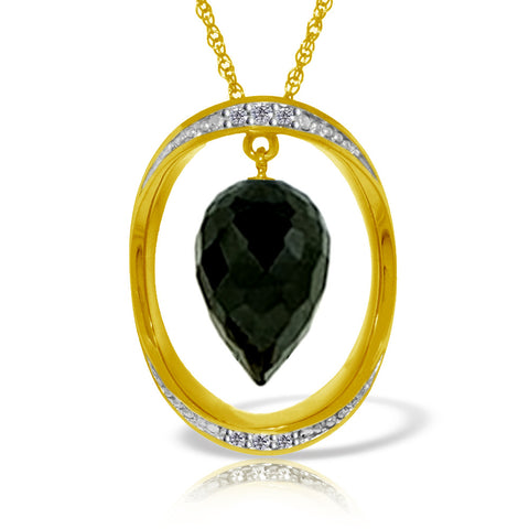 14K Solid Gold Necklace w/ Diamonds & Briolette Pointy Drop Black Spinel