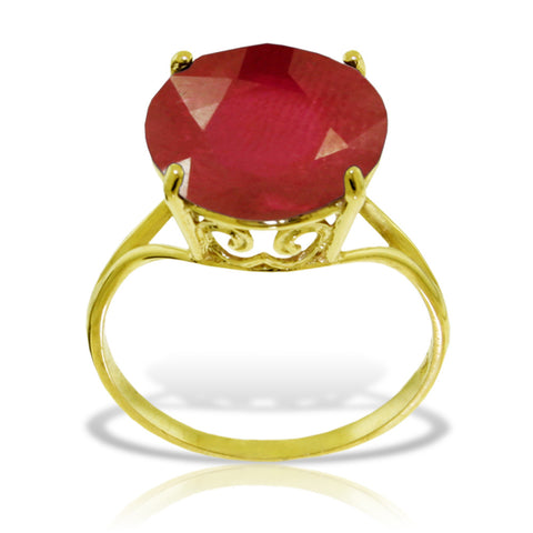 14K Solid Gold Ring w/ Natural 12.0 mm Round Ruby