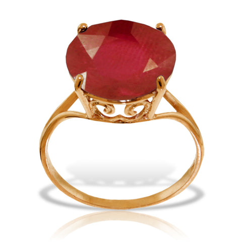 14K Solid Rose Gold Ring w/ Natural 12.0 mm Round Ruby
