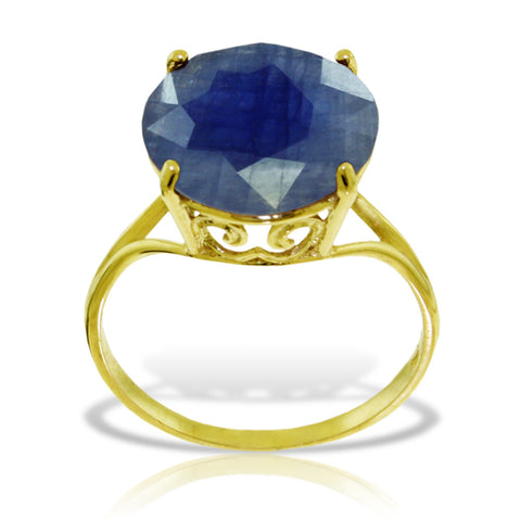 14K Solid Gold Ring w/ Natural 12.0 mm Round Sapphire
