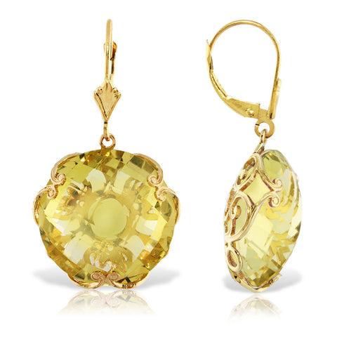 14K Solid Gold Leverback Earrings w/ Checkerboard Cut Round Lemon Quartz