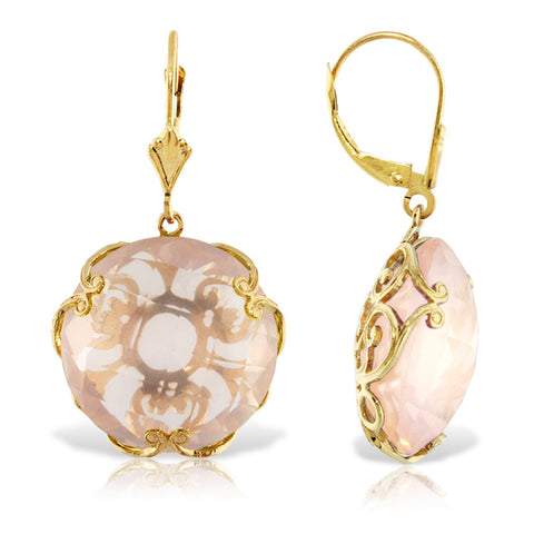 14K Solid Gold Leverback Earrings w/ Checkerboard Cut Round Rose Quartz