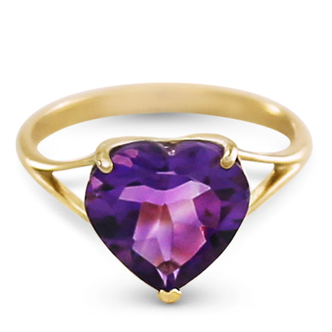 14K Solid Gold Ring w/ Natural 10.0 mm Heart Amethyst