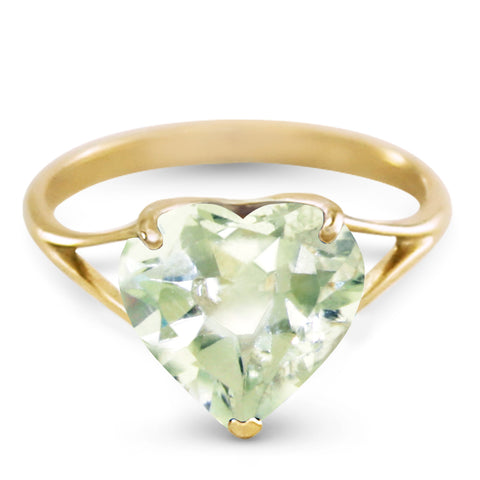 14K Solid Gold Ring w/ Natural 10.0 mm Heart Green Amethyst