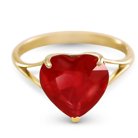14K Solid Gold Ring w/ Natural 10.0 mm Heart Ruby