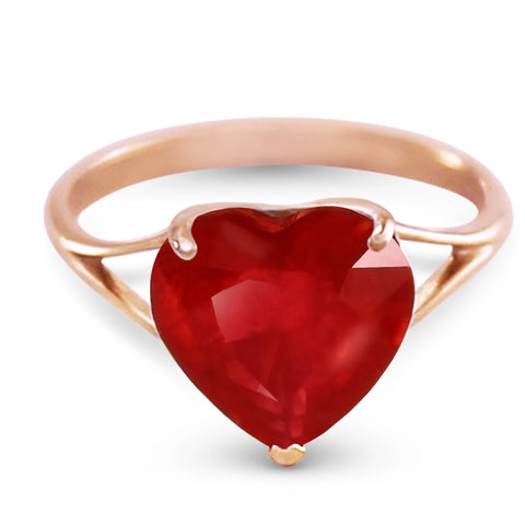 14K Solid Rose Gold Ring w/ Natural 10.0 mm Heart Ruby