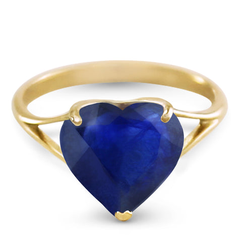 14K Solid Gold Ring w/ Natural 10.0 mm Heart Sapphire