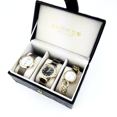 AKRIBOS XXIV WOMENS WATCHES GIFT SET GOLD TONE 889 890 891 - New With Tag