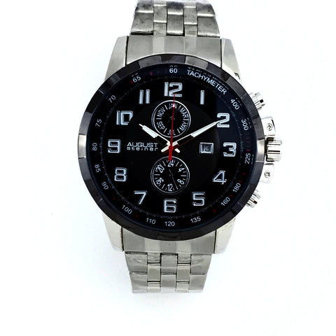 August Steiner Mens Swiss Quartz Watch AS8153SSB - New With Tag