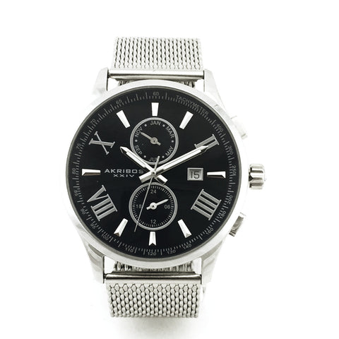 AKRIBOS XXIV MENS MESH BRACELET WATCH AK905SSBU - New With Tag