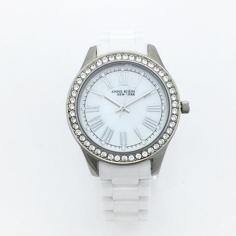 Anne Klein 12/2257SVST Womens Ceramic Watch With Bracelets - MSRP $350
