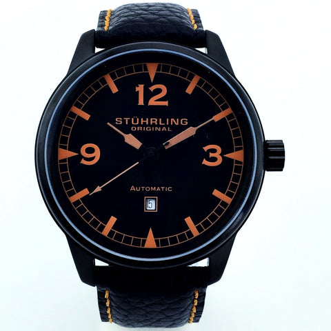 Stuhrling Original Mens 129XL.335557 Automatic Date Black Watch - New With Tag