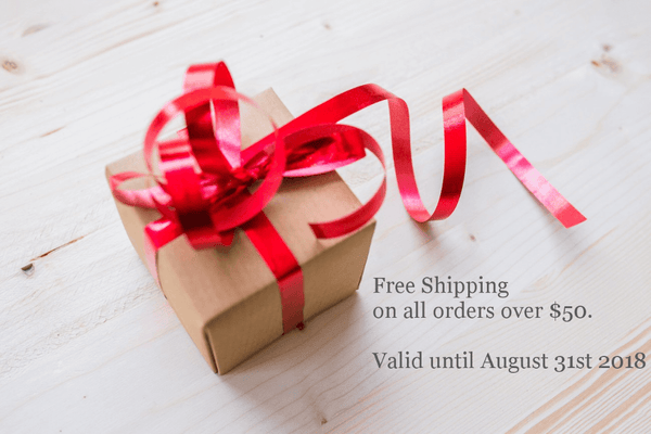 Free Shipping on orders over $50 until end of August 2018