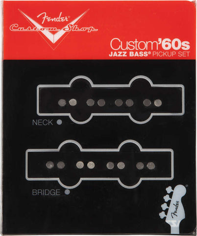 A set of 2 black Fender Jazz Bass pickups from the Custom 60's collection.  Has both the Neck and the Bridge pickup.