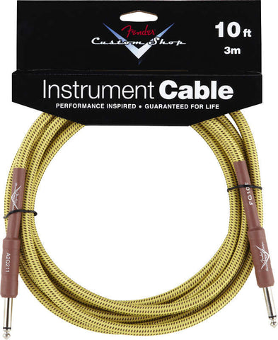 Fender Custom Shop Instrument Cable - 10 feet long with a professional tweed jacket to prevent kinking.  Has straight connectors on both ends.