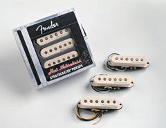 A set of 3 Fender Stratocaster pickups from the Hot Noiseless series.  Contains the bridge pickup, a middle pickup, and a neck pickup.