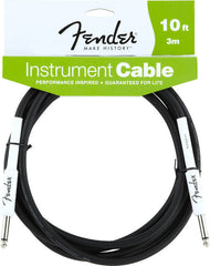 "Fender Instrument Cable,  10 feet long, black, with white 1/4"" straight professional grade connectors"