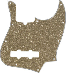 A Fender Jazz Bass 10-hole pickguard in the colour 'Aged Glass' on a white background.  The colour is similar to a Champagne colour.