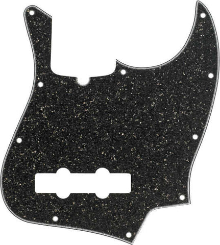 A Fender Jazz Bass 10-hole pickguard in the colour 'Black Glass' on a white background. The colour is black with kind of a sparkle effect
