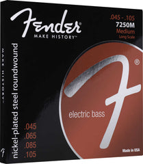 A pack of Fender Nickel Plated Steel roundwound 7250 Bass strings containing sizes: .045, .065, .085, and .105