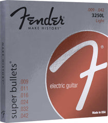 A pack of Fender Nickel Plated Steel Super Bullets® 3250L guitar strings containing sizes: .009, .011, .016, .024, .032, and .042