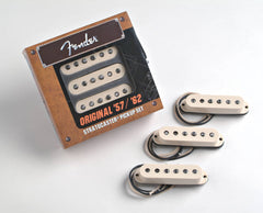 A set of 3 Fender Original '57/'62 Stratocaster pickups in their packaging. Contains the bridge, middle, and neck pickups.