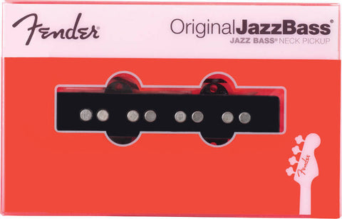 An individual neck Original Jazz Bass pickup from Fender, shown in its packaging