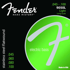 A pack of Fender Stainless Steel Flatwound 9050's Bass strings containing sizes: .045, .060, .080, and .100