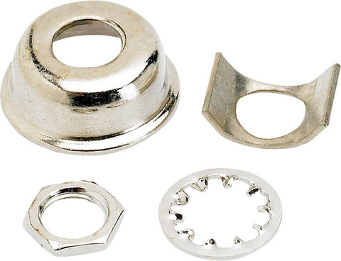 A Fender chrome Telecaster replacement jack ferrule.  The kit contains the ferrule, mounting nut, and the washer, but this nickel kit does not contain the dress washer.