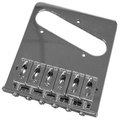 A Fender Telecaster standard series 6 string guitar bridge. The kit comes with the bridge plate, the saddles, as well as the intonation screws and springs. It does not include the mounting screws.