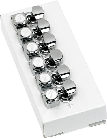 A set of 6 Fender 'F' stamped locking tuners. The kit contains the 6 tuners, their bushings, and their tuning caps.