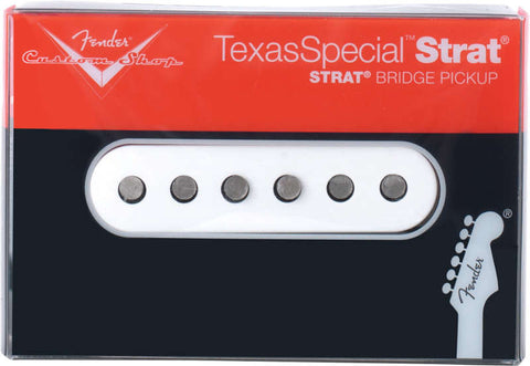 An individual bridge Stratocaster pickup from the Fender Texas Special series. Shown in its packaging