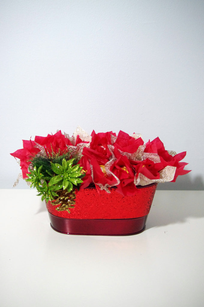 Red Tin Glitter Arrangement