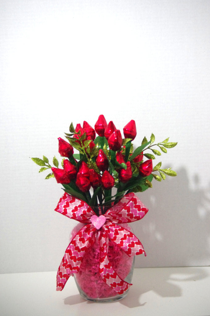 Anniversary - Red Hershey Kiss Roses - Two Dozen