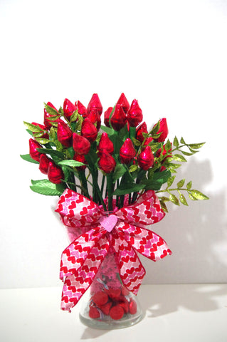 Valentine's Day - Red Hershey Kiss Roses - Three Dozen