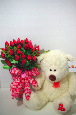 Anniversary - Red Hershey Kiss Roses with Bear- Three Dozen